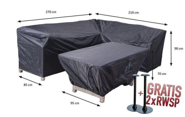 Hoes voor hoekbank en tafel 270 x 210 x 85 H: 90 cm
