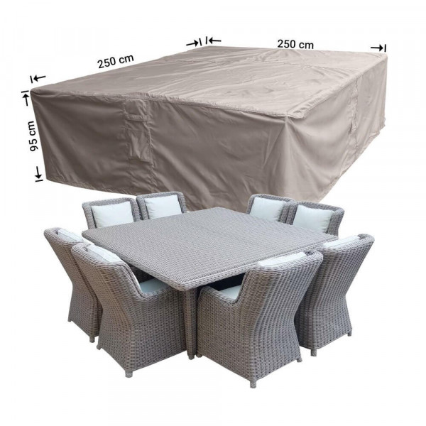 Vierkante lounge- of tuinsethoes 250 x 250 H: 95 cm