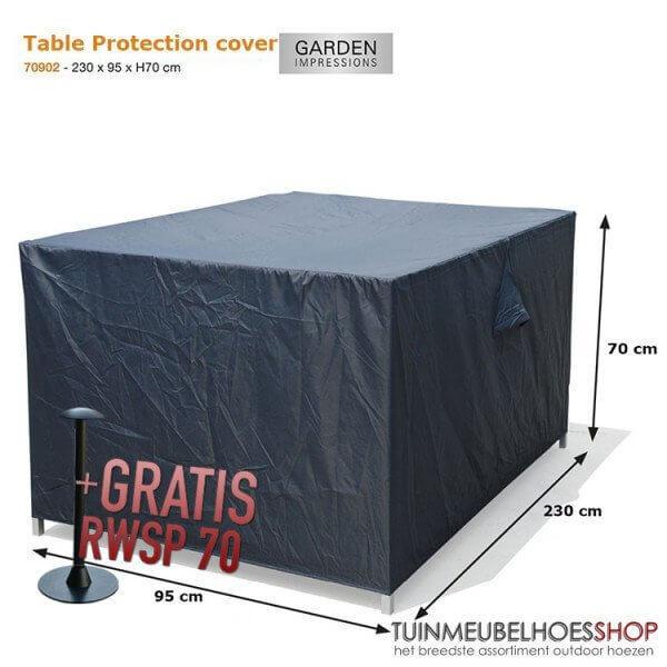 Loungebank hoes 230 x 95 H: 70 cm