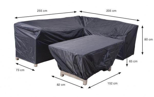 Afdekhoes hoeksalon en hocker 255 x 205 H: 80 cm