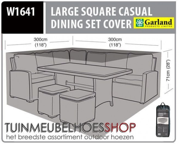 Hoes voor lounge dining set 300 x 300 H: 71 cm