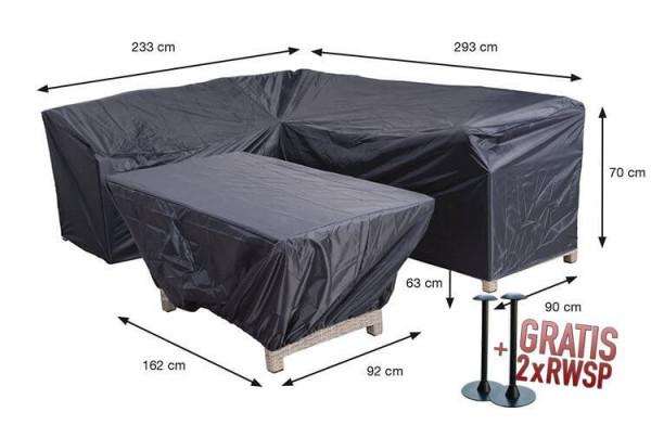 Tuinmeubelhoes voor een L-vormige loungeset met hocker, 293 x 233 H: 70 cm