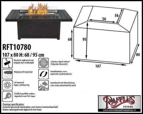 Hoes voor vuurtafel 107 x 80 H: 68/95 cm