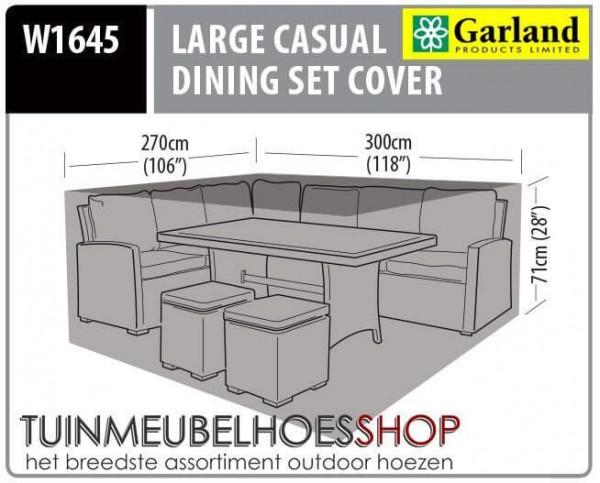 Hoek lounge dining set hoes 300 x 270 cm H: 71 cm