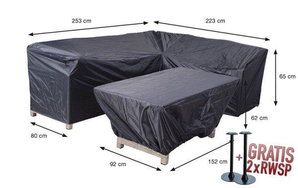 Beschermhoes voor loungeset met hoekbank en bijzettafel: 253 x 223, H: 65 cm