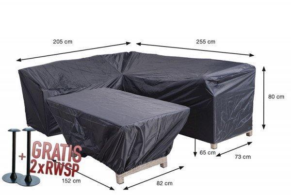 Hoes voor hoekbank en tafel 255 x 205 x 73 H: 80 cm