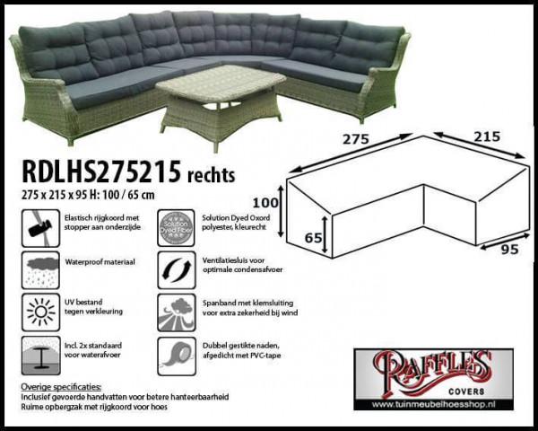 Hoes lounge diningset hoekopstelling, rechts langer 275 x 215 x 95, H: 100 / 65 cm