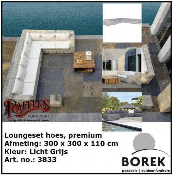 Loungesethoes hoekbank 300 x 300 x 110 H: 65 cm